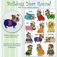 Bulldog Year Round Collection Cross Stitch PDF by PinoyStitch, $7.50