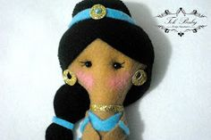 Princesa disney Jasmine de Feltro, Pocket Princesa Jasmine, boneca de feltro