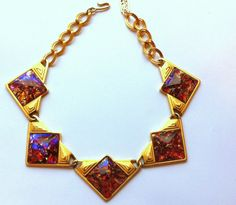 Yves Saint Laurent Dichroic Pink Glass Cabochon Stone Necklace Runway Couture YSL Vintage Choker Collar Modernist Triangle Art Glass Gold by thedepo on Etsy