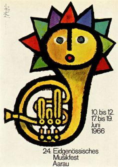 Celestino Piatti Illustration 9  Poster for a Swiss Federal music festival. From Graphis Annual 67/68
