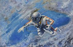 Over the Black Sea, a self-portrait painted by Alexei Leonov, the first man to carry out a space walk (© The Memorial Museum of Cosmonautics). On display until 16th March in the Science Museum's 'Cosmonauts: Birth of the Space Age' exhibition.
