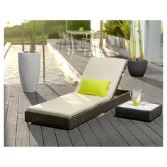 Reposera reclinable Ratán PE café Home & Garden