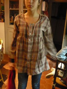 Making a tunic from a mans button down shirt