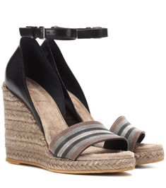 BRUNELLO CUCINELLI Leather espadrille wedge sandals. #brunellocucinelli #shoes #