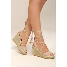 Cali Beige Suede Lace-Up Espadrille Wedges ($49) ❤ liked on Polyvore featuring shoes, sandals, beige, platform espadrilles, strappy sandals, strappy wedge sandals, peep toe sandals and strap sandals