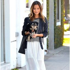 cuteness overload: Jamie Chung with her new rescue puppy Ewok + the black fashionABLE Mamuye tote