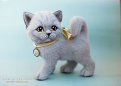 Needle-felted-realistic-sculpture-cat-british-shorthair-by-Natalia-Kravtsova