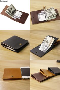 [Visit to Buy] Leeshang New Men Wallets Genuine Leather Black Cardholder Mini Wallet Brown Vintage Cow Leather Money Clip Slim Wallet Men Purse #Advertisement