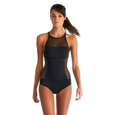 Women's Mesh One Piece Swimsuit - Vitamin A Soleil Soleil - Black