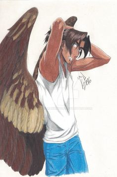 Halo's and Nyroc's first born son. He was born on September 24 2008 in an almost inaccessible part of what is known as the Rocky Mountains. His parents moved him to an unmanned Island somewhere a l... Angels Among Us, Angels And Demons, Character Inspiration, Character Art, Character Design, Human Wings, Wings Sketch, Bird People, Humanoid Creatures