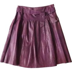 Pre-owned Essentiel Antwerp Purple Leather Skirt ($90) ❤ liked on Polyvore featuring skirts, purple, women clothing skirts, genuine leather skirt, knee length leather skirt, real leather skirt, leather skirt and purple skirt