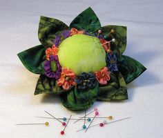 Flower pincushion challenge take two. Hmm. Still not there. In person there's more of a difference...