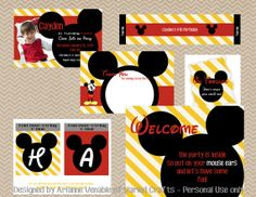 Yellow Striped Mickey Mouse Birthday Party Set