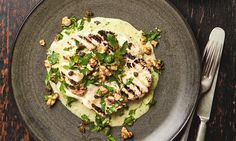 Yotam Ottolenghi's grilled cauliflower 'steaks' with tonnato sauce and walnut salsa.