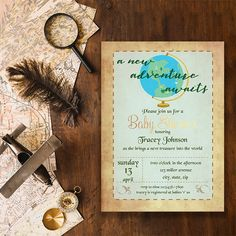 Your baby awaits a new adventure! Adventure invitations for your baby shower. -baby shower invitations - gender neutral baby shower ideas #genderneutralbabyshower #babyshowerinvites