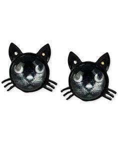 Betsey Johnson Black Cat Stud Earrings - Fashion Jewelry - Jewelry & Watches - Macy's