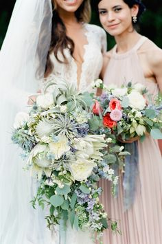 This striking textured cascading bouquet is absolutely gorgeous. Are you planning on having a cascading bouquet for your wedding? 2015 Wedding Trends, Wedding 2015, Mod Wedding, Elegant Wedding, Floral Wedding, Wedding Flowers, Wedding Ideas, Wedding Stuff, Wedding Shoot