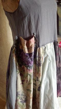 Patchwork upcycled dress boho wearable art hand made