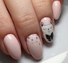 We put together several of the finest nail art designs. Be sure to check them out. Cat Nail Art, Cat Nails, Pink Nails, Cute Easy Nail Designs, Nail Art Designs, Bart Design, Cute Nail Polish, Wedding Nails Design, Round Nails
