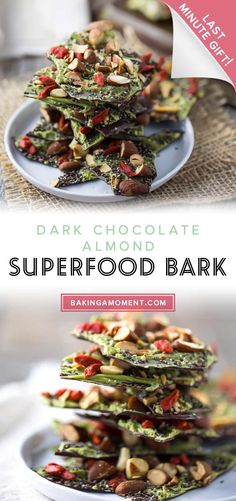 This Dark Chocolate Almond Superfood Bark is loaded with healthy ingredients like matcha, goji berries, and chia seeds. Makes a great homemade holiday gift! Dark Chocolate Almond Bark, Holiday Snacks, Homemade Candies, Candy Recipes, Chia Seeds, Healthy Baking, Superfood, Matcha, Sweet Treats