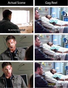 Actual scene vs. gag reel. Season 9 GIFset