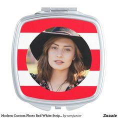Modern Custom Photo Red White Stripe Pattern Vanity Mirror