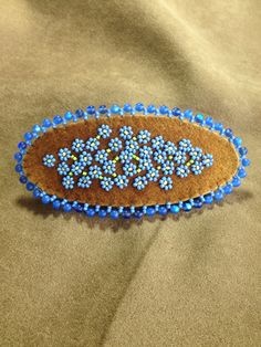 Forget-Me-Not barrette on traditional smoked moose leather by Alaska Beadwork