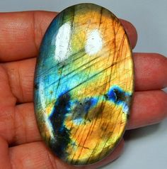 161 CT HUGE NATURAL MULTI FIRE FLASHING LABRADORITE OVAL CABOCHON GEMSTONES 2E04 #treasuregems14