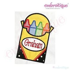 Back to School Box of Crayons Applique - Plain or with Name Frame | Font Frames | Machine Embroidery Designs | SWAKembroidery.com Embroitique