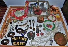 VINTAGE JUNK DRAWER JEWELRY 925 SILVER PLUS COLLECTIBLES COUNTRIES MILITARY ETC.