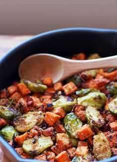 Brussels Sprouts Sweet Potato Hash - this looks delicious without the bread crumbs or soy sauce.