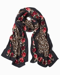 91bffaab334 Women s Leopard  amp  Floral Print Oblong Scarf by WHBM Leopard Print  Scarf