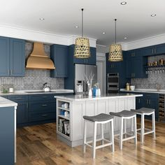Elevate the elegance in your home with Blue Shaker cabinets. Striking and stylish with simple lines that allow the dynamic color to take center stage, bringing impact and inspiration to any kitchen. For more information Contact us (954)-900-1055 #kitchencabinets #kitchen #KitchenDesign #kitchenideas #renovation #remodeling #highquality #wholesale #newlook #homedecore #bestdeals #modularkitchen #stylishlook #kitchenlove #barstools #kitchendecor #whitekitchen #elegantkitchen #kitchens… Kitchen Cabinet Kings, Shaker Kitchen Cabinets, Kitchen Cabinet Styles, White Shaker Kitchen, Shaker Style Kitchens, Elegant Kitchens, New Kitchen, Kitchen Decor