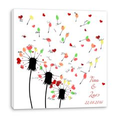 Wedding Tree ♥ Symbol für wachsende, blühende Liebe ♥ Hochzeitsgäste verewigen sich mit Fingerabdrücken auf Leinwand ✔