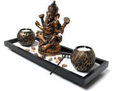 Zen - Garten mit Ganesha Figur Teelichter Sand Stein Nr: YH071