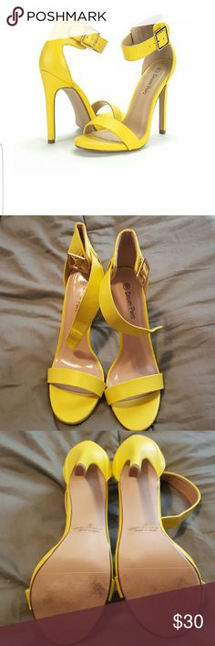 """Women's Evening High Heels Open Toe Ankle Strap Fantastic Condition. Only worn once. 4.5"""" Yellow High Heels Open Toe Ankle Strap Platform Casual Stiletto Pumps Sandals Shoes Heels"""