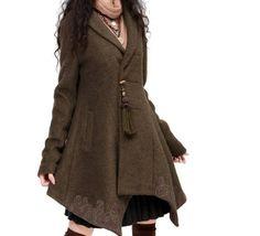 embroidered woollen Jacket / parka - Khaki  from Origina by DaWanda.com