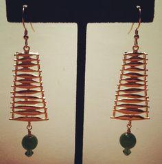 Brass Ladder with Swarovski Crystal and Jade by BellaMiJewelry, $35.00