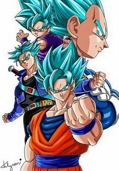 Goku, Trunks, Vegeta, and Gohan SSGSS