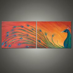Original Commission Painting. ABSTRACT PEACOCK . Abstract Original bird peacock Painting. Free shipping inside US.
