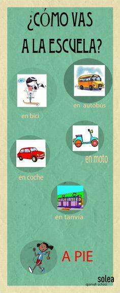 Preposiciones usadas en español con los medios de transporte. Spanish prepositions. Spanische Präpositionen