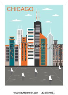 Stylized Chicago city in bright colors. City Vector, Vector Art, Vector Stock, Chicago Map, Framed Artwork, Wall Art, Find Art, Stock Photos, Art Prints