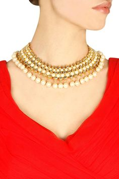 Gold finish kundan stone and pearl drop necklace by Soranam. Shop now: http://www.perniaspopupshop.com/designers/soranam #necklace #soranam #shopnow #perniaspopupshop