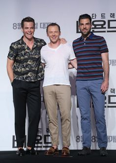 Actors Chris Pine, Simon Pegg, and Zachary Quinto attend the Press Conference and Photocall for 'Star Trek Beyond.'
