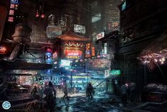 Influenced by early cyberpunk movies, especially 'Blade Runner', current cyberpunk games always tend to add eastern cityscapes images. Those images also foreshadowed a dark globalized future Cyberpunk City, Cyberpunk 2077, Cyberpunk Anime, Futuristic City, Steampunk, Blade Runner, Sci Fi Stadt, These Broken Stars, Science Fiction