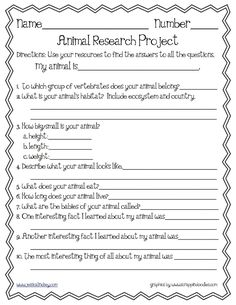 Animal Research Template. Do This With The Kids At The Zoo