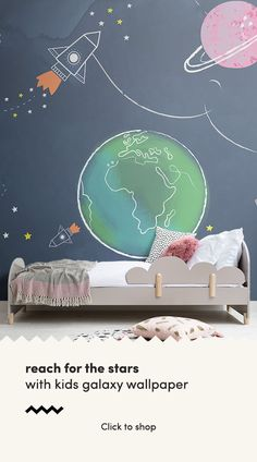 Reach for the stars with this exciting space kids wallpaper mural, inspired by the mysteries and beauty of the universe we live in. Kids Room Murals, Murals For Kids, Kids Room Paint, Bedroom Murals, Bedroom Themes, Kids Bedroom, Wall Murals, Kids Room Wallpaper, Of Wallpaper