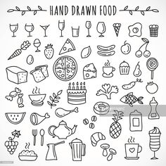 Vectorkunst : Hand drawn set of food icons