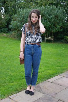 Primark blouse, Topshop Mom Jeans, Cambridge Satchel and Primark Loafers