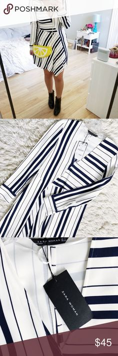 ZARA striped dress Super comfy and stretchy fabric molds to your body. Very classy and perfect addition to any wardrobe. Navy and white stripes. Zara Dresses Asymmetrical